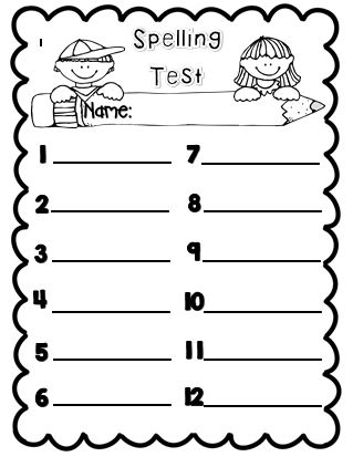 spelling test template 10 words pdf