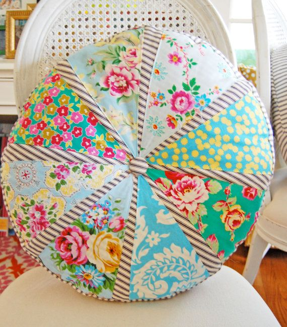 "Handmade Patchwork Pillow with Sis Boom Fabric and Tkicking 18"" Diameter Circle in Blues, Pinks, Greens, and Yellows"