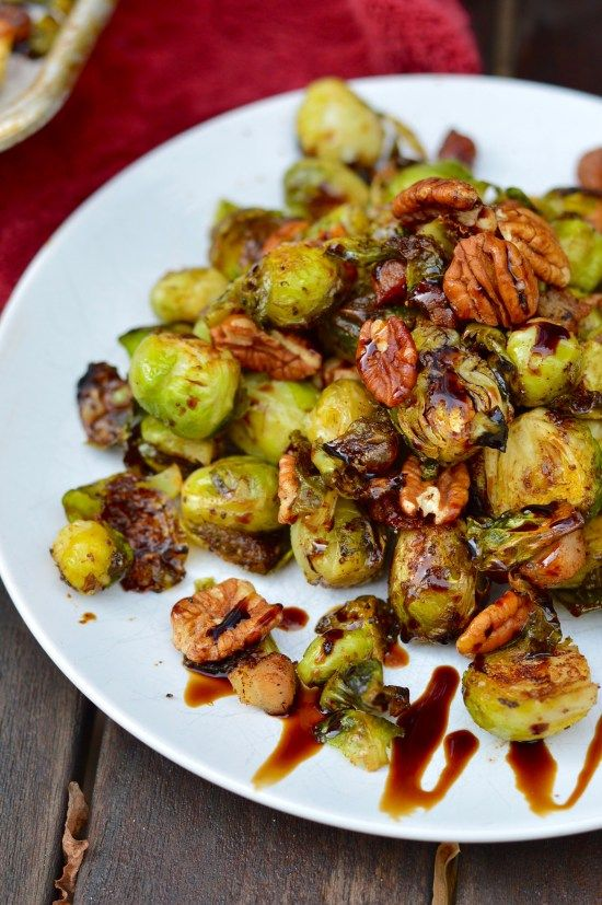 Maple-Balsamic Brussels Sprouts with Toasted Pecans & Bacon | Real Food with Dana