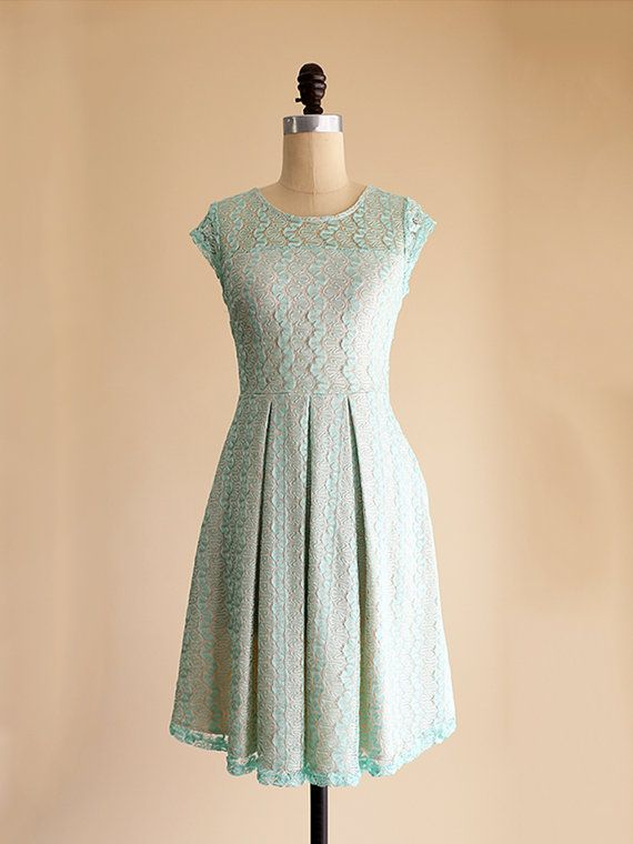 GOSSAMER  Mint green lace bridesmaid dress  cap by ShopApricity