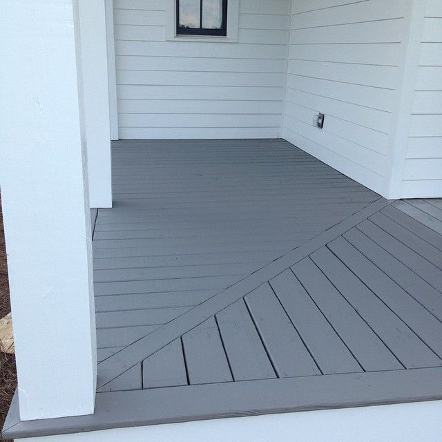 Porch floors getting stained today #swgauntletgray #superdeck #fourgables