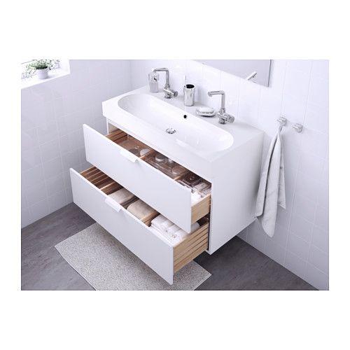 GODMORGON / BRÅVIKEN Meuble lavabo 2tir - blanc - IKEA