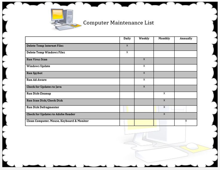 Computer Maintenance List Template  Official Templates