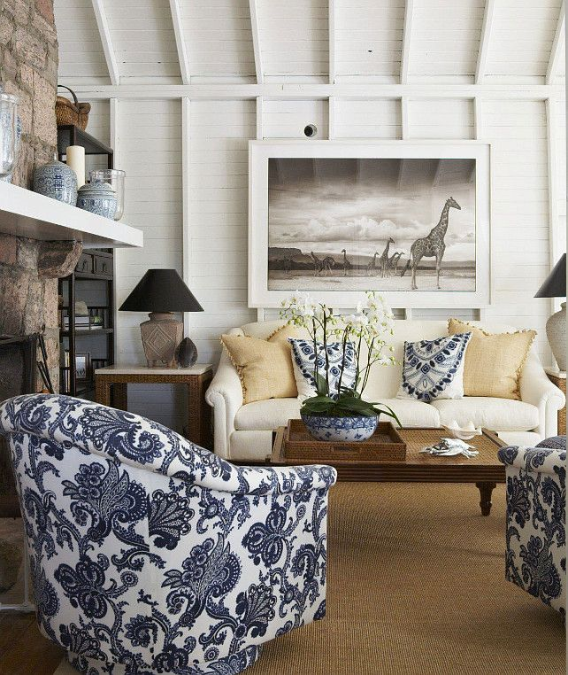 living room in blue%0A Transitional living room with blue and white fabric   livingroom   Blueandwhite  Fabric Anne