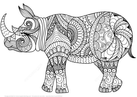 Zentangle Rhino coloring page from Zentangle category. Select from 27948 printable crafts of cartoons, nature, animals, Bible and many more.
