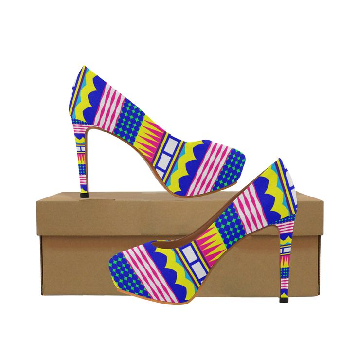 Rectangles waves and circles Women's High Heels