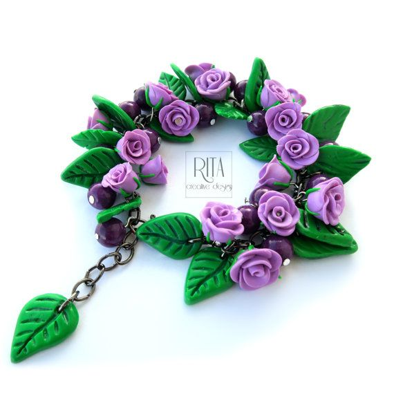 BRACELET - purple rosses. Polymer clay FIMO jewelry. Charm bracelet.