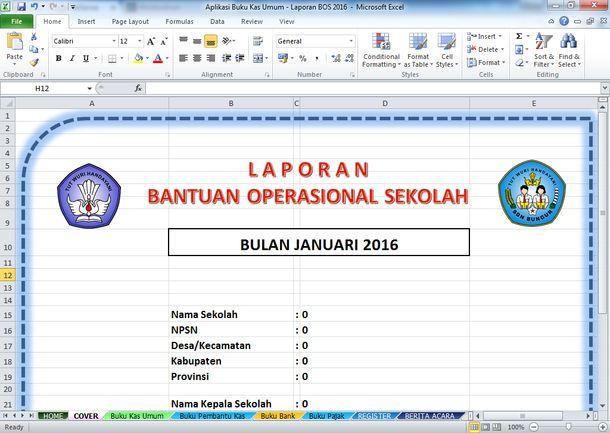 Aplikasi Buku Kas Umum - Laporan BOS 2016 Format Microsoft Excel