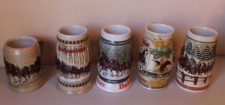 Budweiser Stein 1980 1981 1982 1983 1984 Holiday Mugs Clydesdales First 5 NICE