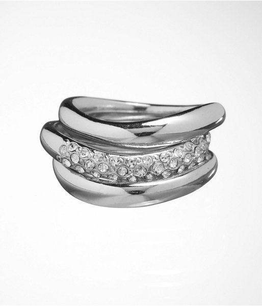 Express Womens Swirled Metal And Pave Ring Set Shiny Silver, 6