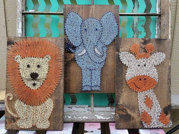 $147 Etsy Safari Animal Trio String Art Animals Nursery  Handmade by NailedItDesign.etsy.com