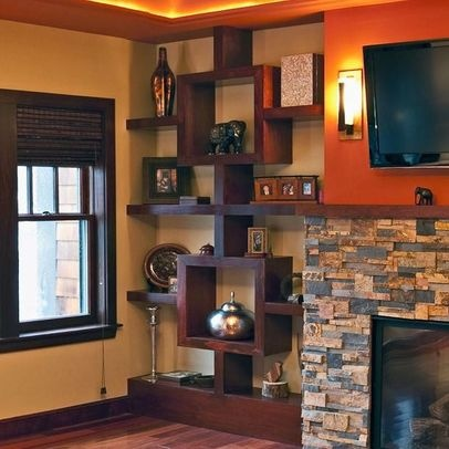 Asian Home fireplace mantel Design Ideas, Pictures, Remodel and Decor