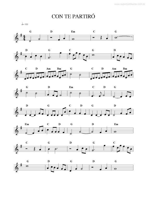 Página que contém a partitura da música Con Te Partirò v.3 (Andrea Bocelli).