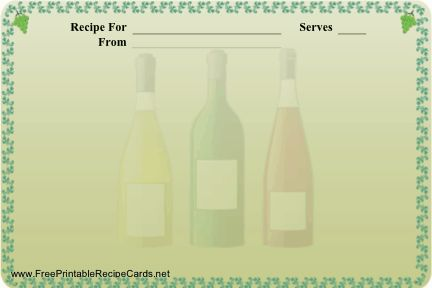 Have a favorite recipe for wine tasting, Italian meals, or other situations where a wine bottle is in order? Use this printable recipe card. Free to download and print