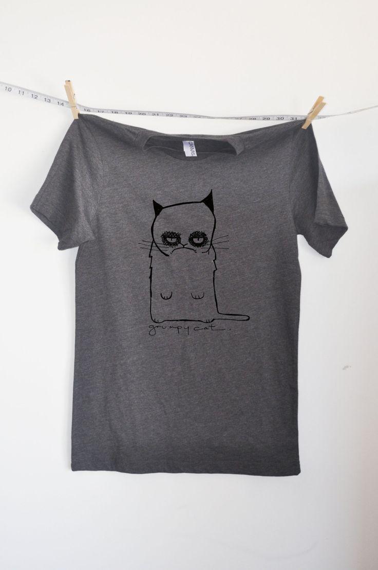 #Grumpy #cat gray #tee mens. $20 by Little Lee Studios via Etsy