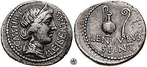 Roman AR Denarius issued by Gaius Cassius Longinus and Lentulus Spinther 42 BC.   Obv: C. CASSI. IMP left, LEIBERTAS right, diademed and draped bust of Libertas right.   Rev: / LENTVLVS SPINT in two lines below sacrificial jug and lituus, from the military mint in Smyrna. (These would be great earrings?)