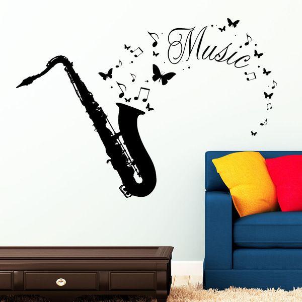 Wandtattoo Musik Saxophon Noten Instrument von wandtattoo-loft via dawanda.com