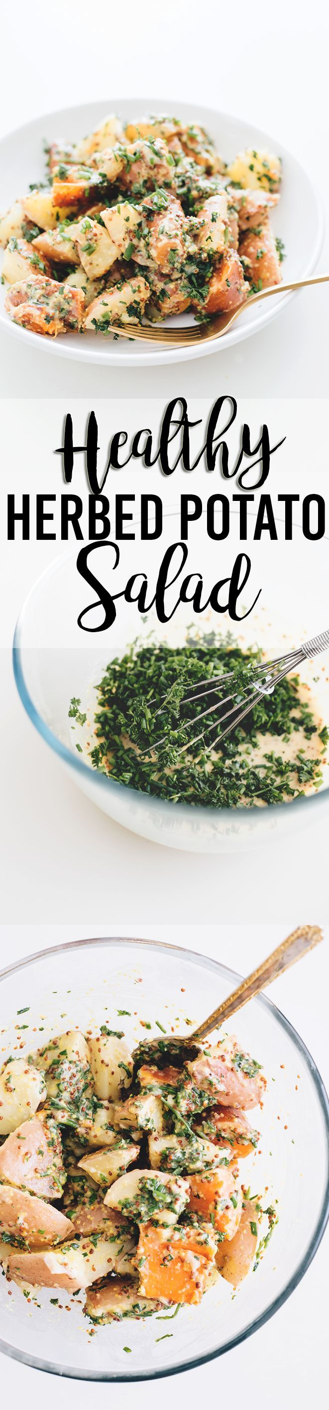 Healthy Vegan Herbed Potato Salad - a delicious salad loaded with Potatoes, Sweet Potatoes and a tangy Mustard and Herb Dressing. #vegan #healthy #delicious #potatosalad #herbs #simple #quick #veganrecipes #plantbased #simple #easy