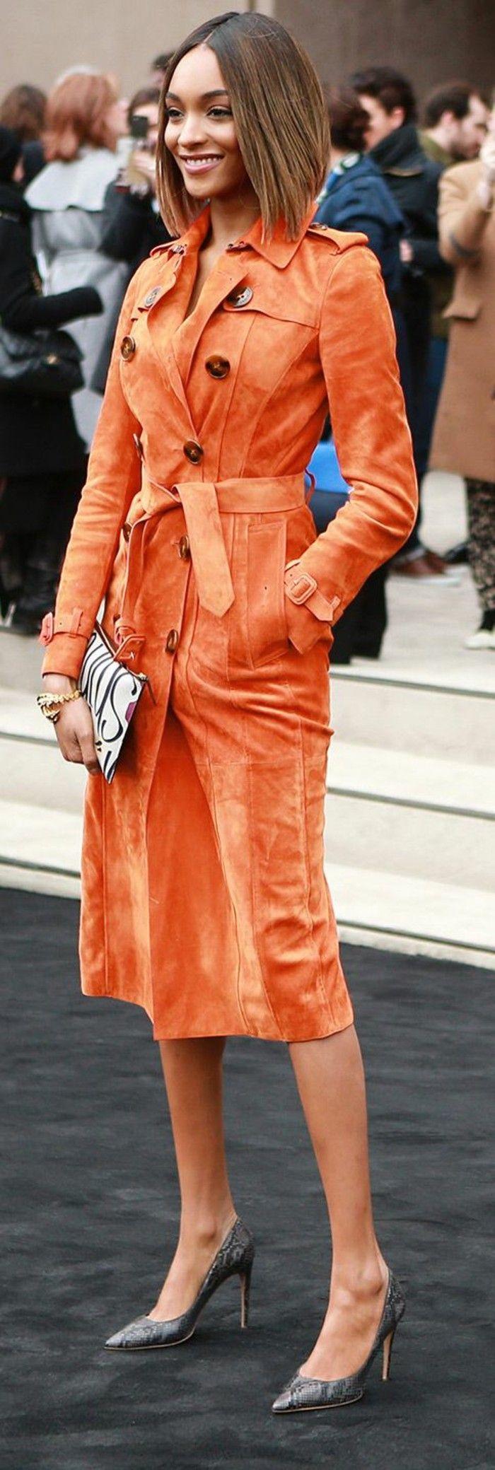 trench court femme orange vif couleur vitaminée