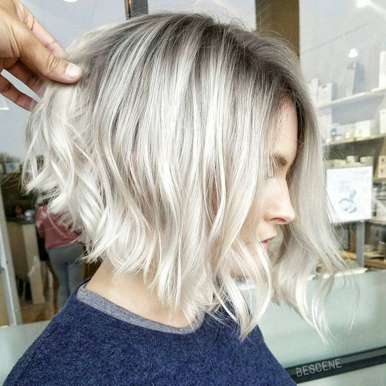 Image result for inverted bob silver hair