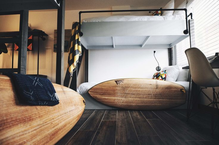 """A New Modern Hotel in San Diego Offers Surfing Adventures and Local Hospitality - Photo 8 of 10 - Each of the rooms can accommodate two guests, except for """"Pipes,"""" which includes a set of camp-style bunk beds that can fit four people. Guests have access to the hotel's surf equipment, including a quiver that's filled with Firewire surfboards. They also have partnerships set up with a handful of other local business so that they can offer guests whatever it takes to complete the…"""