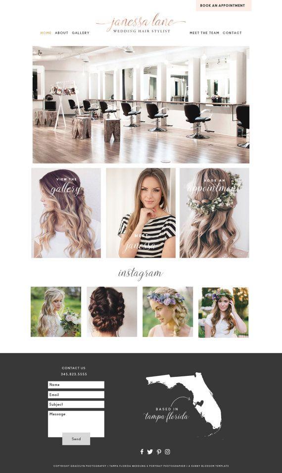 Wix Website Template, website design, hairstylist website design, hair salon website, hair stylist logo design, wedding hair stylist site 36