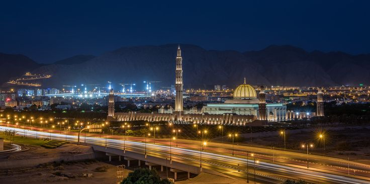 Muscat Nights Along Sultan Qaboos Expressway - Sultan Qaboos Grand Mosque at Blue Hour With My New Nikon D850 :)