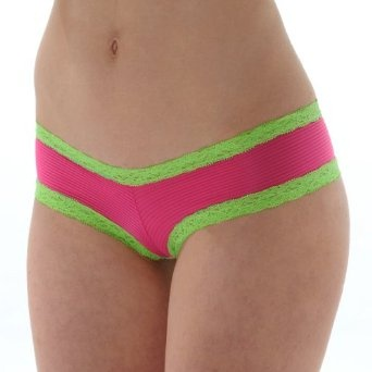 Low Rise Hipster Pantie Pink with Green Lace Trim S M L or XL    Price:	$8.95: Good