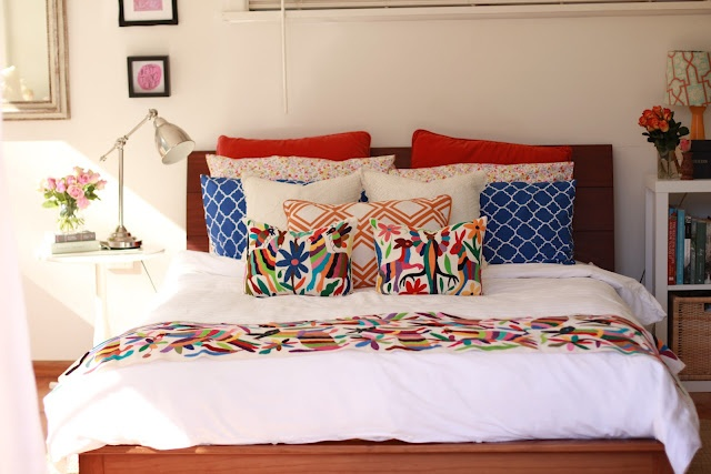 Nice colourful styling (we have the same blue Sheridan pillow cases & white doona cover). want to get silver bedside lamps. - live the theming - simple doona cover, colour in the extras.