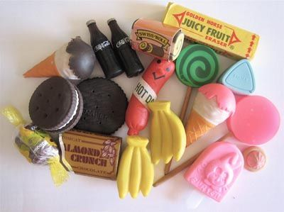 1980s food erasers by ✎☁Iron Lace☁✎, via Flickr