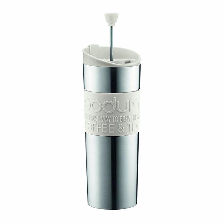 Bodum 15-Ounce Travel French Press Mug, Off-White