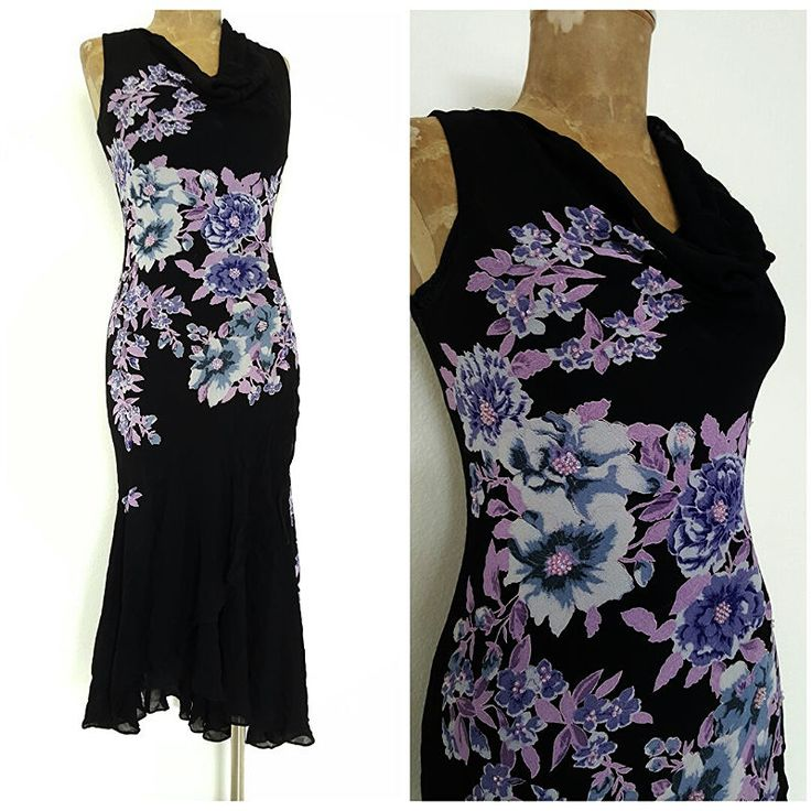 Lola P Dress Size Small Bias Cut High Low Floral Beaded Flapper Cowl Neck #LolaP #Sexy #Formal