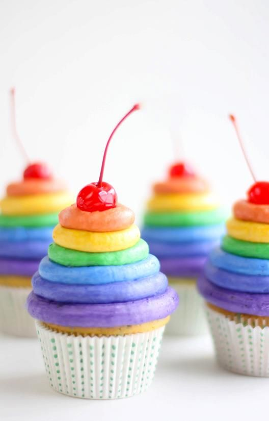 Rainbow cupcakesSour cream cake 1/2 cup butter softened 1 cup granulated sugar 2 eggs 1 tsp vanilla 1 3/4 cups flour 1/2 tsp baking soda 1/4 tsp baking powder 1/4 tsp salt 1/2 cup sour cream 1/2 mi...