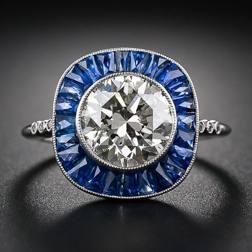 2.86 Art Deco Style Diamond and Calibre Sapphire Ring - 10-1-6125 - Lang Antiques