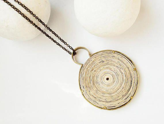 Pendant paper jewelry Bohemian pendant Boho pendant Boho