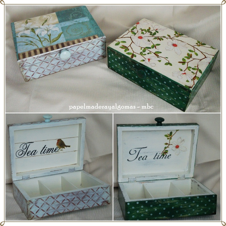 More tea box, both of them with transfer, stencil and decoupage.