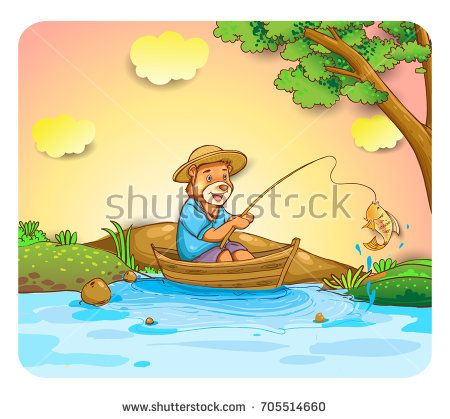 cute bear fisher in lake, cover design, wallpaper, children book, vector cartoon illustration