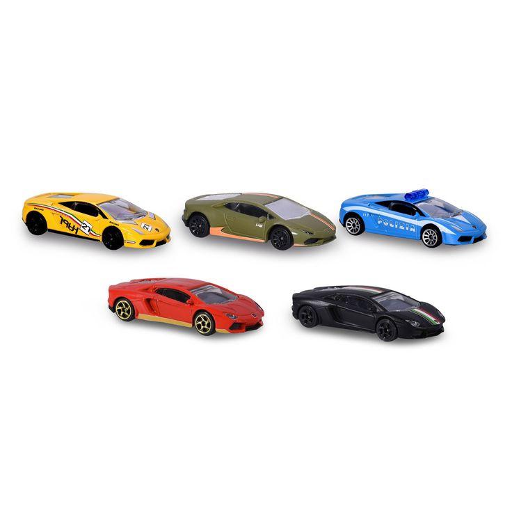 Race het avontuur tegemoet in je favoriete Lamborghini uit deze 5-delige autoset van Majorette. De set bevat 5 Lamborghini auto's in de kleuren mat zwart, legergroen, geel, rood en een politie uitvoering. De autootjes zijn gemaakt van stevig metaal en afgewerkt met prachtige details. Afmeting:lengte auto's 6 cm. - Majorette Lamborghini Set, 5dlg.