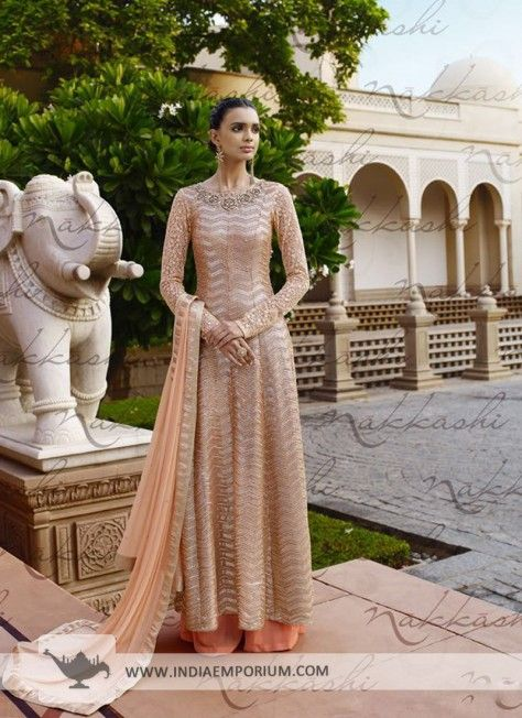 Admirable Peach Net Palazzo Suit