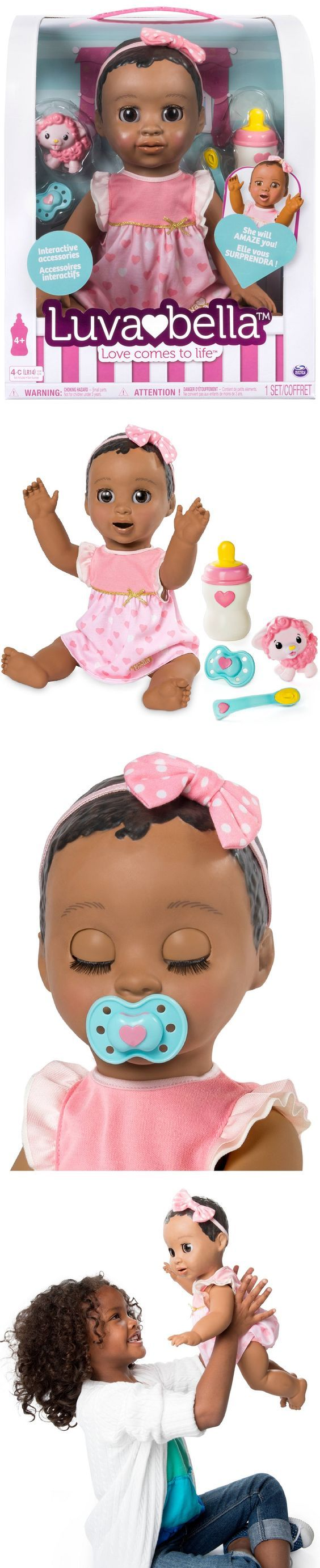 Christmas 2017 gift for our beautiful granddaughter. Luvabella Responsive Baby Doll-Dark Brown Hair.  She's interactive with true-to-life facial expressions and movements! She plays and interacts several ways! The more you play with Luvabella, the more she learns! As you interact with her she'll expand her vocabulary from baby babble to over 100 words and complete phrases!  Luvabella interacts with her spoon, bottle, pacifier and Lamby toy.