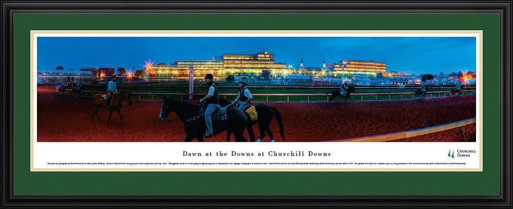 Dawn At Churchill Downs Panoramic Picture Framed