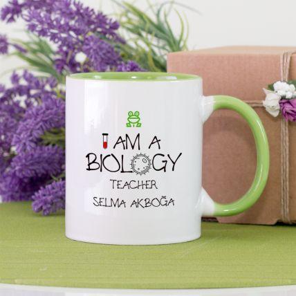 Kişiye Özel Yeşil Renk Biyoloji Öğretmeni Kupa Bardak