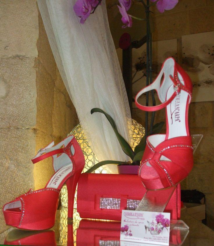 scarpe da cerimonia color corallo con pochette