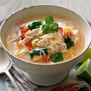Chicken Laksa  Need coconut milk  Ginger    http://www.deliciousmagazine.co.uk/recipes/chicken-laksa