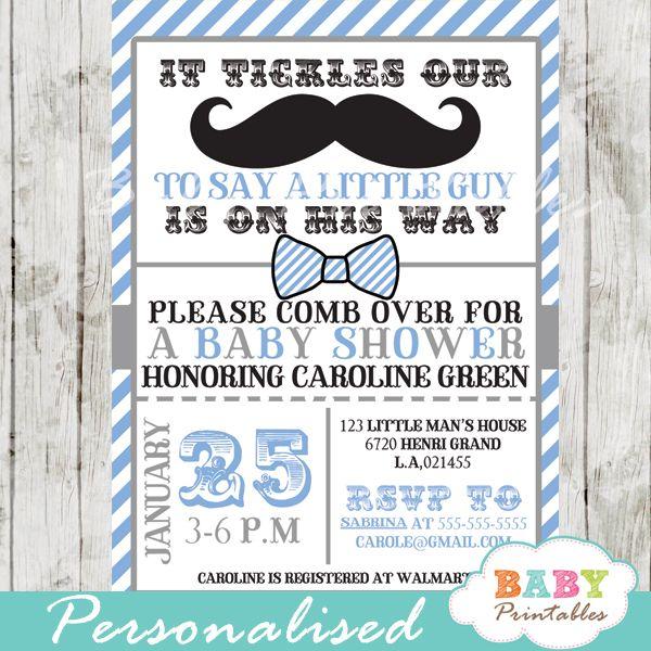 Blue Grey Mustache Baby Shower Invitation Card   D113