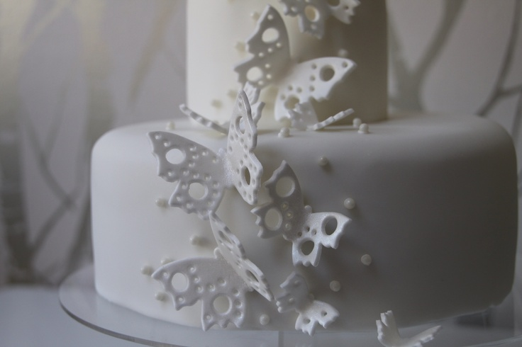 Butterfly Wedding Cake - 2 tier in white with sparkle dust butterflies