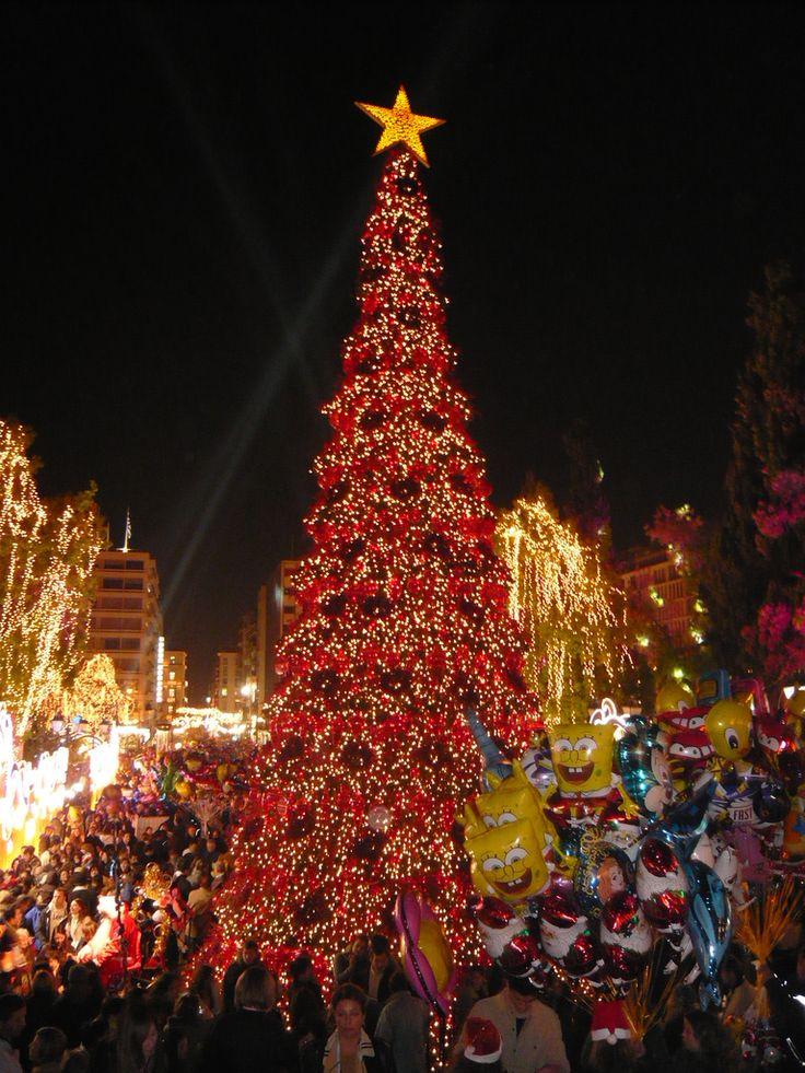 Christmas decorations on Syntagma square  Коледни украси на площад Синтагма