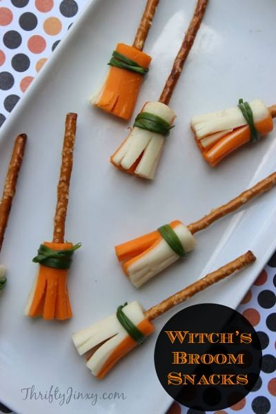 Witch's Broom Snacks - Fun for Halloween! - Thrifty Jinxy
