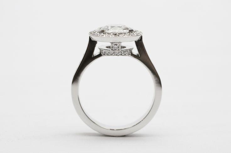 Beautiful custom made engagement ring with tiered halo. www.larsenjewellery.com.au