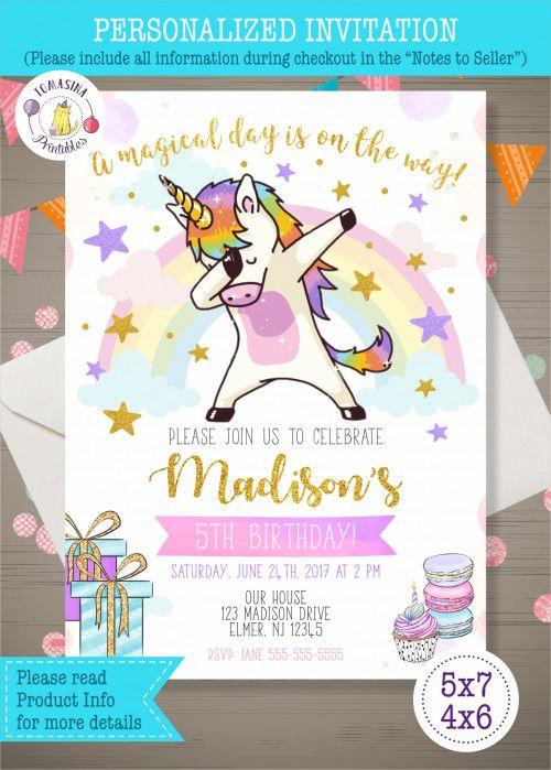 Dabbing Unicorn Invitation / Personalized / DIGITAL ONLY in 2019